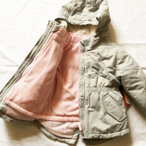Wonder Nation Toddler Girls Size 2T Jacket 4-in-1 Parka System Pink Zipper Hood ht 32-33.5 wt 26.5-30 lbs